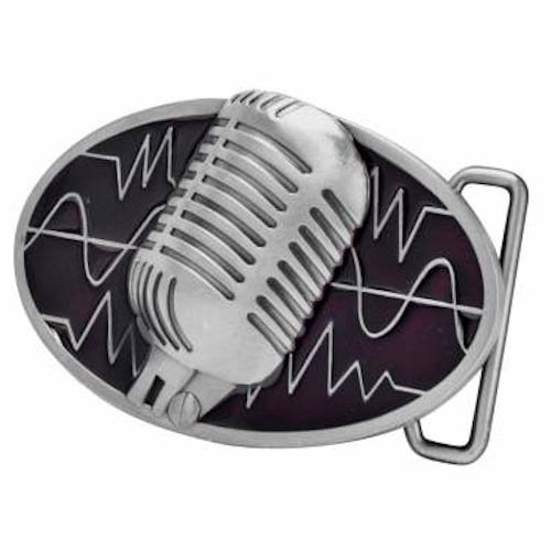 Red Retro Vintage Microphone Belt Buckle Musician Music