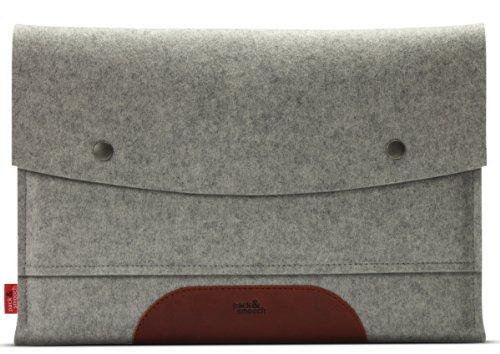 Pack & Smooch MacBook Pro 13 Retina Display hülle, sleeve - Grau/Hellbraun - 100% Wollfilz und pflanzlich gegerbtem Leder - Handmade in Germany