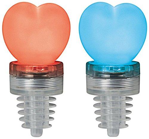 Cuore tappo per bottiglia con LED-Bottle Top Heart Set di 2(rosso e blu), batteria inclusa