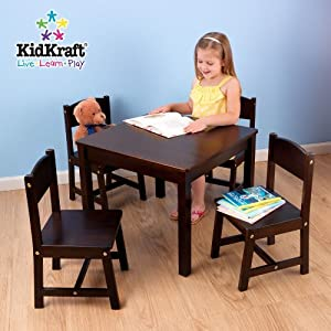 Farmhouse Table And 4 Chair Set Espresso from KidKraft