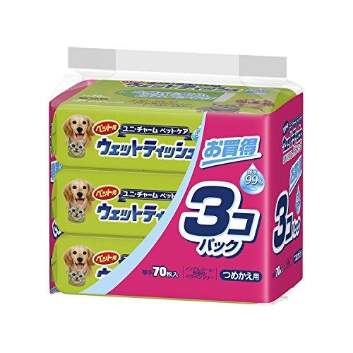 ユニ・チャームペットケア ペット用ウェットティッシュ つめかえ用 70枚×3...