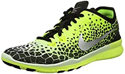 Nike Women\'s Free 5.0 Tr Fit 5 Prt Black/Mtllc Silver/Vlt/White Training Shoe 6.5 Women US