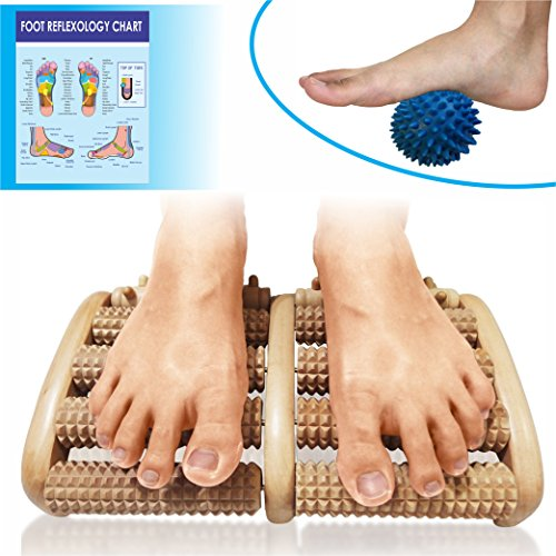 Dual Wood Foot Massager Rollers - Relieve Plantar Fasciitis, Foot/Heel Pain, Stress - Wooden Acupressure Set For Deep Tissue Massage. Massage Ball and Reflexology Chart Included! (Aromatherapy Oil Kit With Chart compare prices)