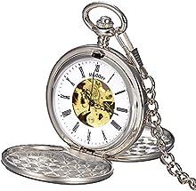 Mudder Reloj para hombre steampunk mecánica estilo esqueleto de acero de tungsteno windup bolsillo escala de números romanos oro rosa
