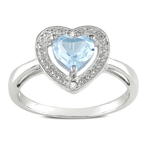 Sterling Silver, Blue Topaz and Diamond Heart Ring (.01 cttw, G-H Color, I3 Clarity), Size 6