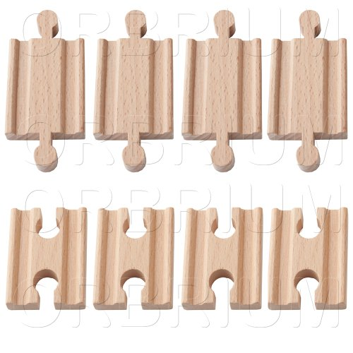 Orbrium® Toys 8 Pcs Wooden Train Track Male-male Female-female Adapter Pack Fits Thomas Brio Chuggington set