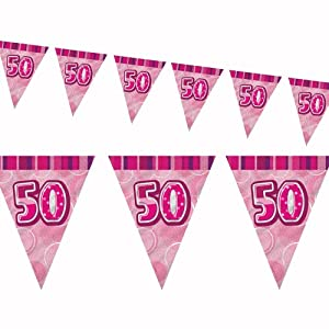 12ft Pink Sparkle Happy 50th Birthday Pennant Flag Banner Party Decoration . from Unique