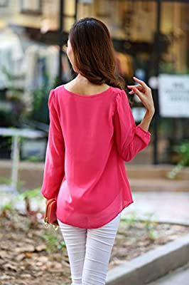 FINEJO Women's Crew Neck Candy Color Short Sleeve Shirt Chiffon Tops Blouse RR XL