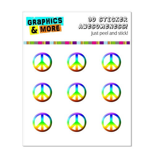 Graphics and More Peace Sign Rainbow Home Button Stickers Fits Apple iPhone 4/4S/5/5C/5S, iPad, iPod Touch - Non-Retail Packaging - Clear