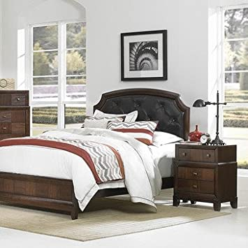 Homelegance Carrie Ann 2 Piece Platform Bedroom Set w/ Dark Brown Bi-Cast Vinyl Headboard in Warm Cherry
