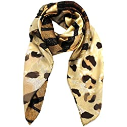 Modadorn Luxurious Silk 100% Animal Square Accessories Scarf Brown