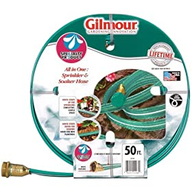 Gilmour 27142 50-Foot 3-Tube Flat Sprinkler and Soaker Hose, Green