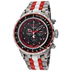 Invicta Men's 12779 Subaqua Chronograph Black Carbon Fiber Dial Titanium, White Ceramic and Red Plastic Watch