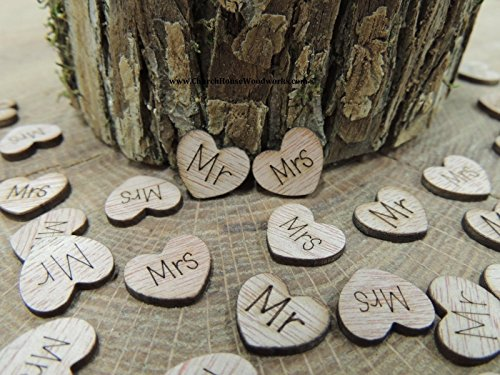 100 Mr Mrs Wooden Hearts - Wood Table Confetti, Embellishments, Scatters, Invitations, Table Decor, Rustic Weddings and Events