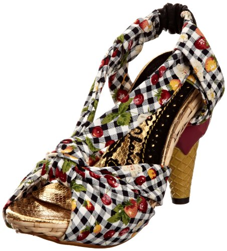 Irregular Choice Women's May Contain Nuts Black Multicolor Open Toe 3989-4D 6.5 UK, 40 EU
