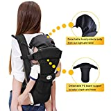 Langforth Baby Carrier Soft Breathable for Infant and Toddler 5 Carrying Positions Sling Front Backpack Shoulder Carriers Black Best for 3.6-12kg (7.9-26.4lbs) Baby ASTM F2236-14 Certification