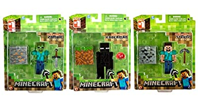Minecraft Value Bundle! Set of 3! Core Steve, Enderman and Zombie Action Figures with Accessories
