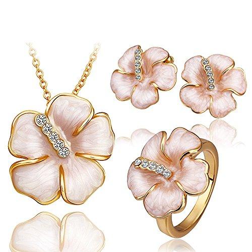 Europei e americani gioielli di moda di alta qualità delle donne di cristallo della collana Orecchini Set di anelli