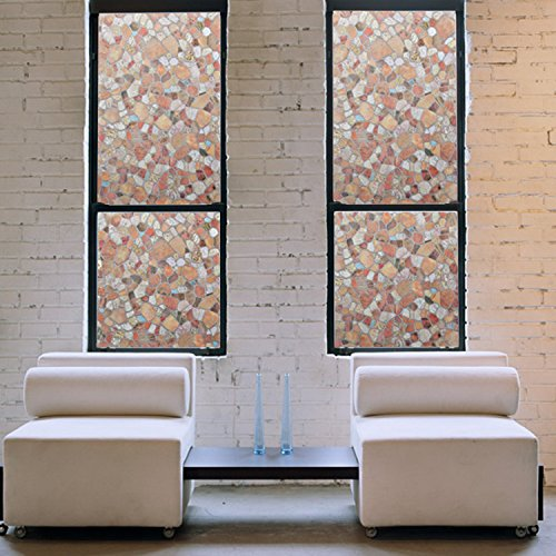 Bloss Stones Pattern Window Film For Privacy Home Stained Glass Window Privacy Sticker Film