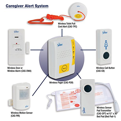 Secure® Wireless Caregiver Alert System – Personal Pager Monitors up to Four Components – Nurse Call Button, Motion Detector, Bathroom Toilet Alert, Door/Window Alarm – Batteries Included (Wireless Call Button)