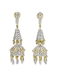 19.00 Grams White Cubic Zircon Gold Plated Earrings