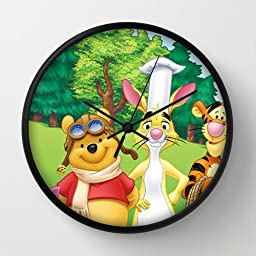 10 Inch Art Wall Clock Winnie The Pooh 9 Black Frames Wall Decor Clock