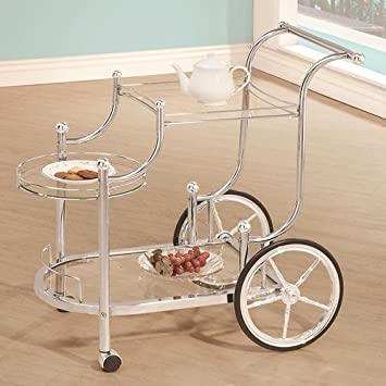 Wheeled Serving Cart With Chrome Finials By Coaster Furniture