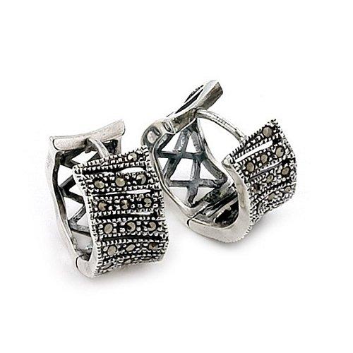 Marcasite Huggie Sterling Silver Earrings