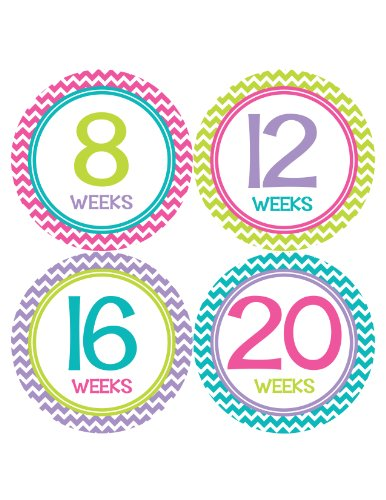 Months in Motion 902 Pregnancy Baby Bump Stickers Maternity Week Sticker Chevron