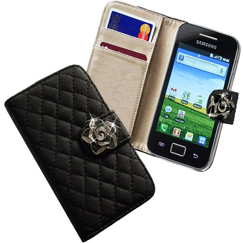 Xtra-Funky Exclusive Faux Leather Flip Purse Wallet Style Case With Embedded Crystal Rose On Magnetic Closing Strap For Samsung Galaxy Ace S5830 / S5830I - Black