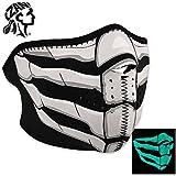 Zan Headgear Half Mask, Neoprene, Glow in the Dark, Bone Breath