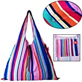 Colorful Rainbow Shoulder Recycle Folding Shopping Bag High Capacity