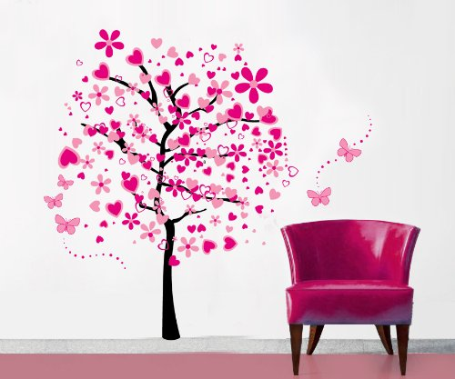 Createforlife Home Decoration Art Vinyl Mural Wall Sticker Decal Pink Flower Tree Butterfly Decal Paper