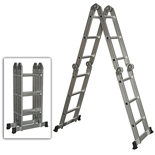 Multi Purpose Aluminum Ladder Folding Step Ladder Scaffold Extendable Heavy Duty (Canopy Protection Plan Console compare prices)