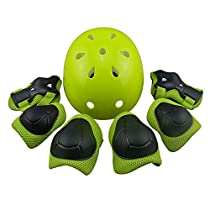Casa Mall Children Cycling Roller Protective Gear with Helmet Elbow Knee Wrist Pads for Kids (7 Piece)