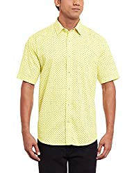 Greenfibre Men's Casual Shirt (75IT_44_Yellow and Blue)