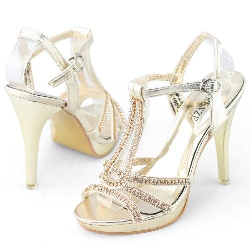 Shoezy Womens Rhinestones Strappy Metallic High Heels Platform Sandals