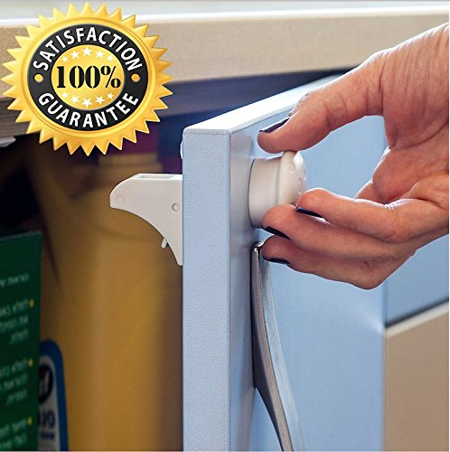 CarterBee's Magnetic Cabinet Locks for Kitchen Cabinet Doors and Drawers, 10 Piece Baby Safety Set, 8 Locks + 2 Keys