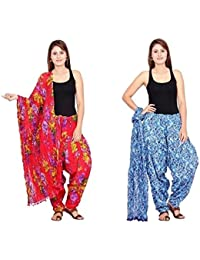 Rama Set Of 2 Floral Print Red & Blue Colour Full Patiala With Dupatta Set