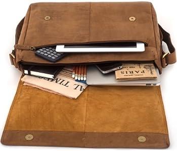 LEABAGS OXFORD Vintage Genuine Leather Satchel Flapover Shoulder Bag 2