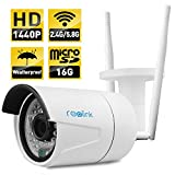 Wireless IP Camera ,Reolink 4-Megapixel 1440P Wireless Security 2.4G/5.8G Dual Mode Wifi Outdoor Bullet , Built-in 16GB Micro SD Card, 2560x1440, Night Vision 65-100ft, E-mail Alert( RLC-410WS )