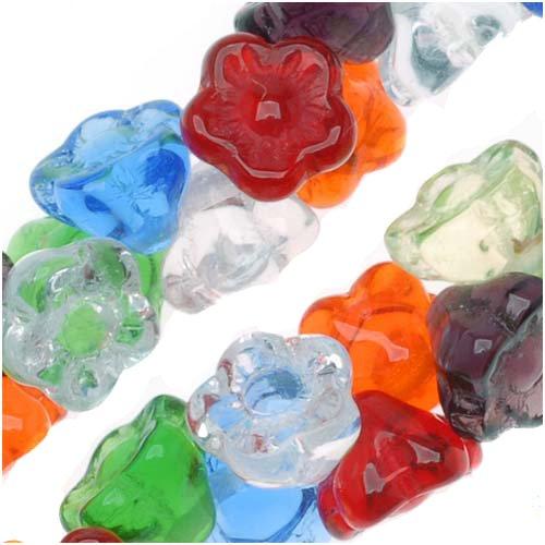"""Czech Glass Flower Drops """"Rainbow"""" Color Mix 7mm (100 Beads)"""
