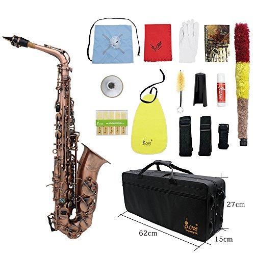 ammoon Professionale Red Bend Bronzo Eb E-flat Modello Alto Saxophone Sax di Shell Chiave Carve con i Guanti di Caso Panno di Pulizia Cinghie Grasso Brush