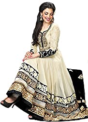 Priyanshu Creation Women's Georgette Cream Dress Material