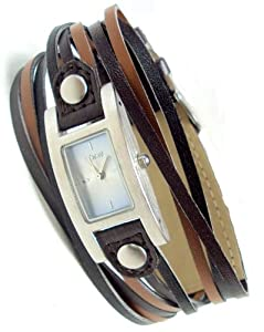 Spirit Ladies Aqua/Blue Easy Read Dial with Black / Brown Multi Thong Strap Watch - ASPL16