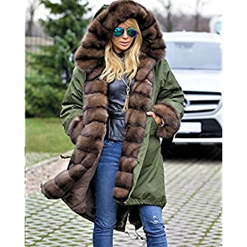 Roiii Ladies Quilted Casual Vintage Faux Fur Collar Warm Thick Womens Jacket Coat