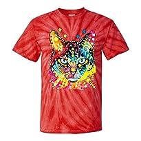 Blue Eyes Trippy Cat Dean Russo Tie-Dye T-Shirt