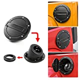 JeCar Aluminum Gas Cap Fuel Filler Door Cover for 2007-2017 Jeep Wrangler JK Accessories Unlimited
