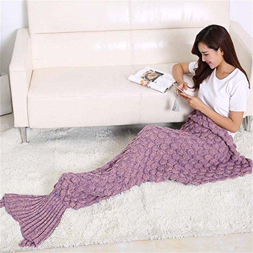 Feng Mermaid Schwanz Decke und Mermaid Decke für Erwachsene und Kinder, All Seasons Super Soft Schlafsäcke (Dunkelpink)