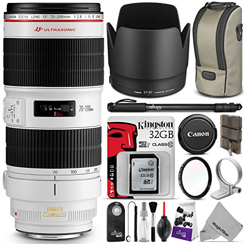 Canon EF 70-200mm f/2.8L IS II USM Telephoto Zoom Lens w/ Essential Bundle - Includes: DSLR Camera Monopod, UV Filter, Remote Control, Kingston 32GB SD Card, Camera Cleaning Set